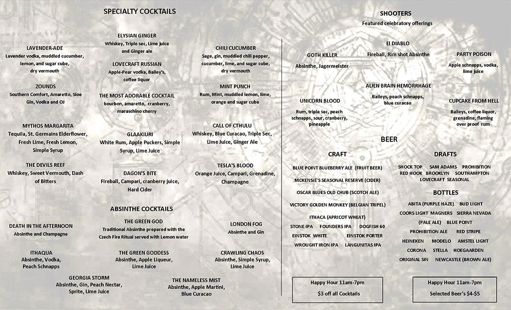 Lovecraft Menu